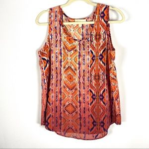 Olive and oak print tank top blouse